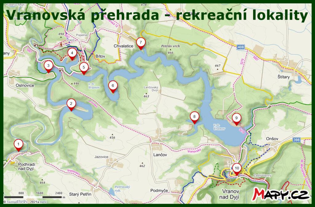 Vranovská přehrada - mapa rekreačních lokalit